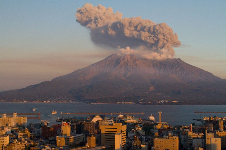 Sakurajima, right across Kagoshima, one of the most active volcanoes in the world. no copyright photographer Kimon Berlin